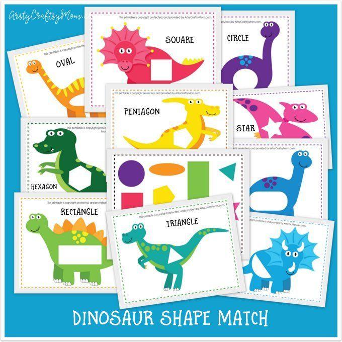 Printable Dinosaur Shape Match Game Dinosaurs Preschool Dinosaur Theme Preschool Preschool Activities Preschool dinosaur matching worksheet