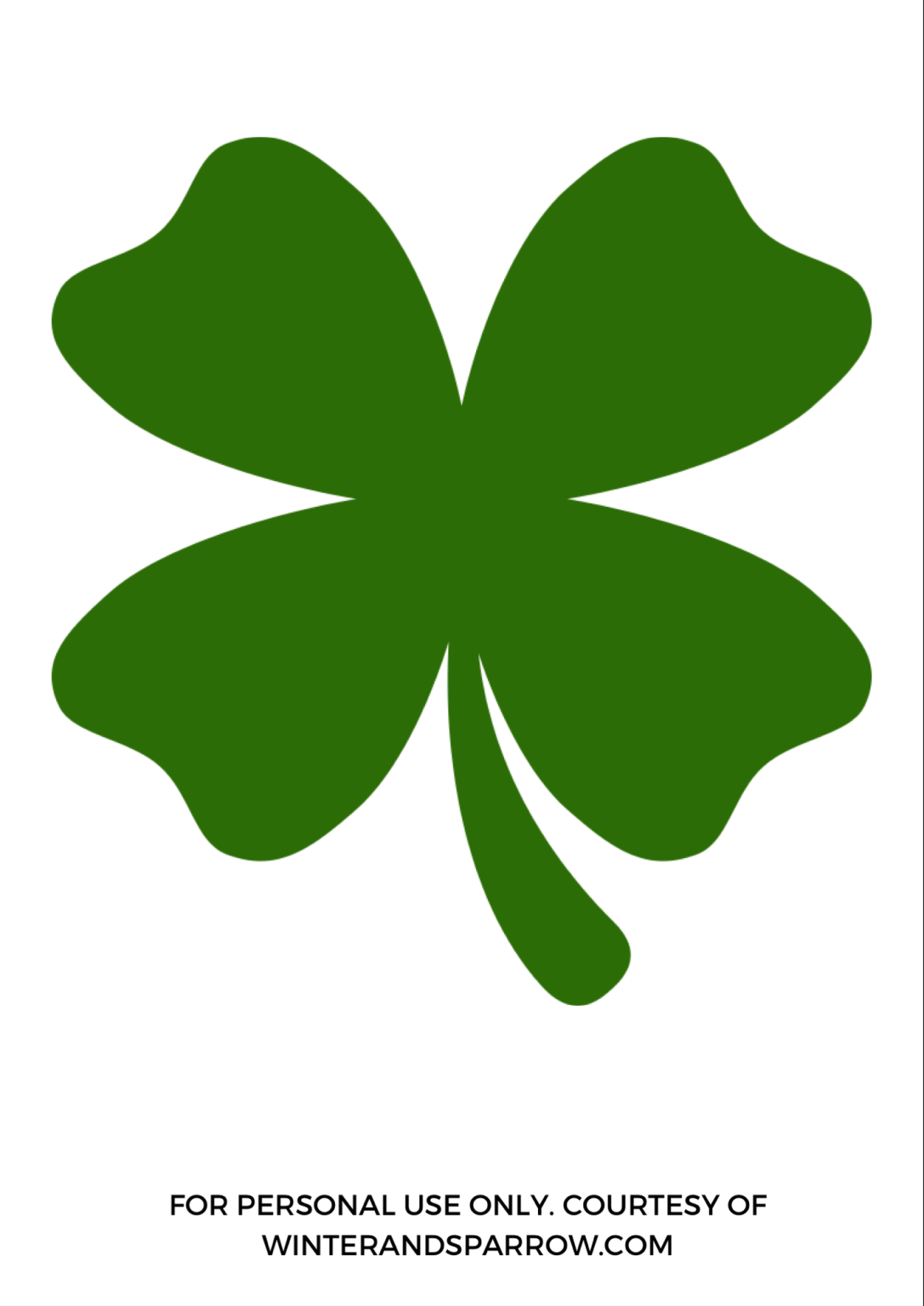 Free St Patricks Day Printables Four Leaf Clover Template