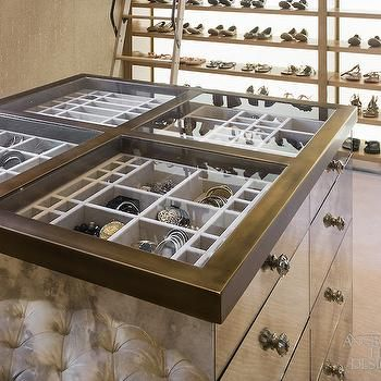 Glass Top Closet Island With Jewelry Drawers Contemporary