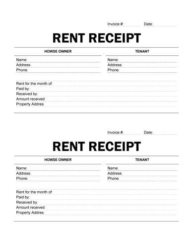Easy To Print Rent Receipt  Templates    Renting