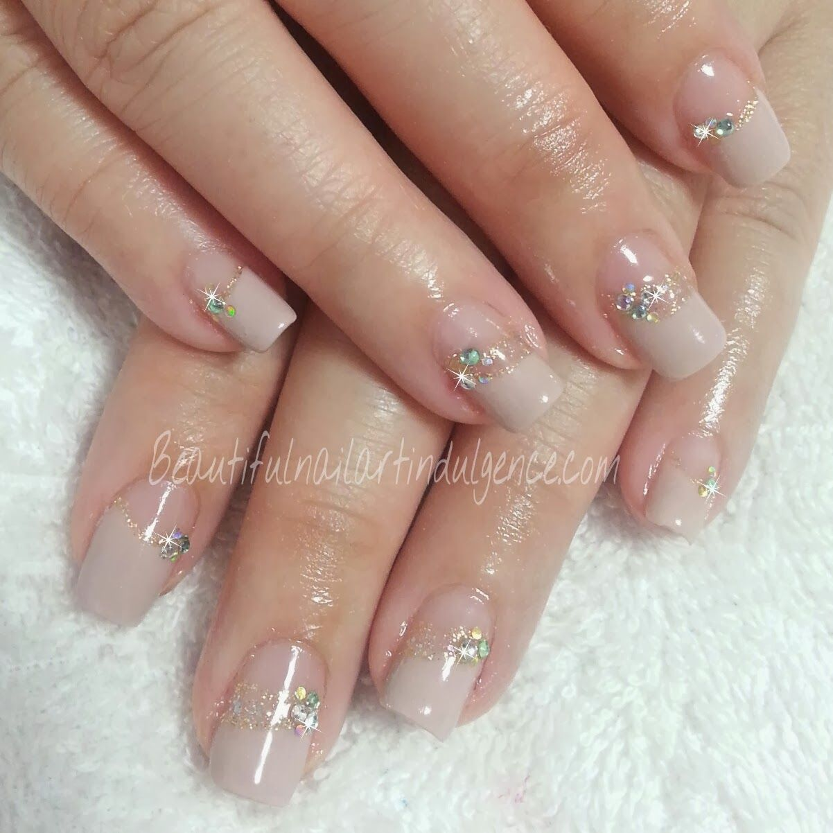 nude french nails w jewels | nails | Pinterest | French nails and ...