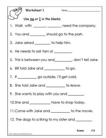 I Vs Me Worksheet 1 | Grammar worksheets, English grammar ...