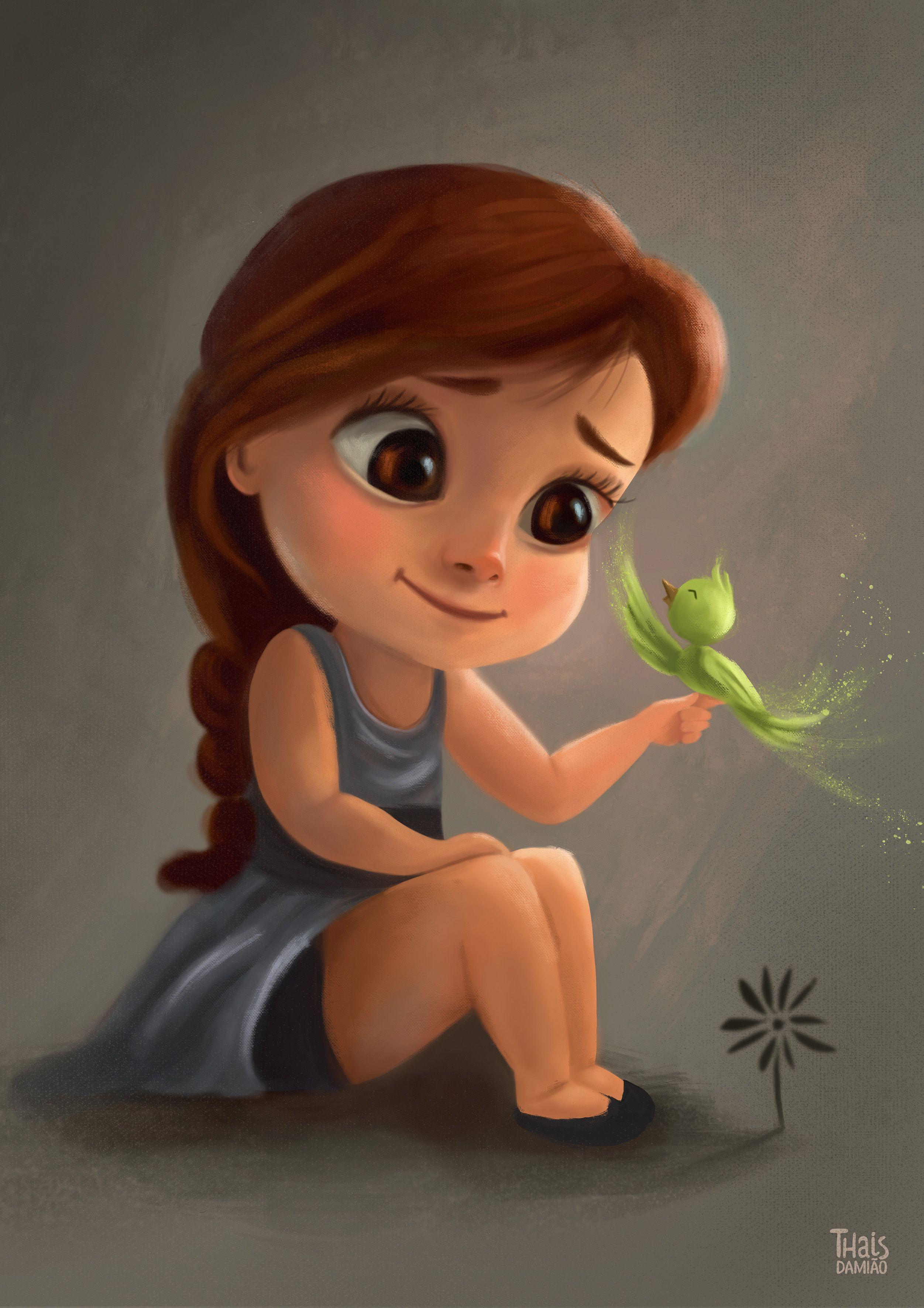Little Girl By Thaisdamiao Cartoon 2d Cgsociety Cute