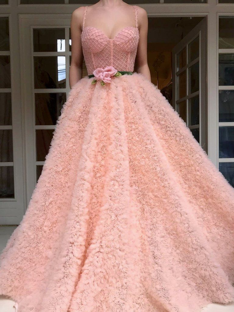 Chic prom dresses with pockets beading sparkly a line lace long pink
