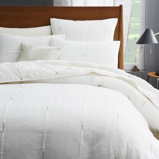Silver Stitch Pleat Duvet Cover Shams White Bed Set White Bedding Remodel Bedroom