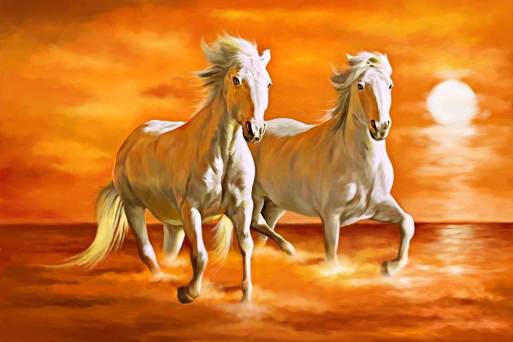 Running Horses Painting Vastu 2 Horses Feng Shui Is Amazing Hd Wallpapers For Desktop Or Mobile Explore More Rel Horse Painting Seven Horses Painting Horses