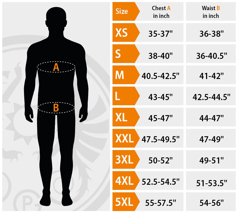 Petromax Loden Clothing size chart for men. | Petromax