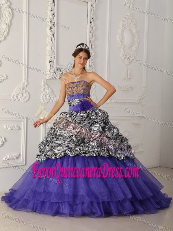 43ffcc1fdd4 Perfect Zebra Print Organza Taffeta Multi-color Quinces Dresses Patterns