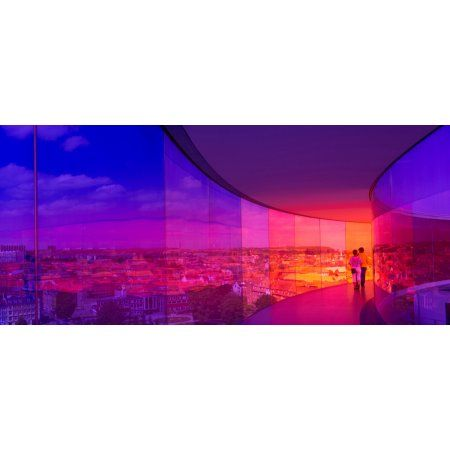View of a city from the translucent walkway of a museum ARoS Aarhus Kunstmuseum Aarhus Denmark Canvas Art - Panoramic Images (27 x 9)