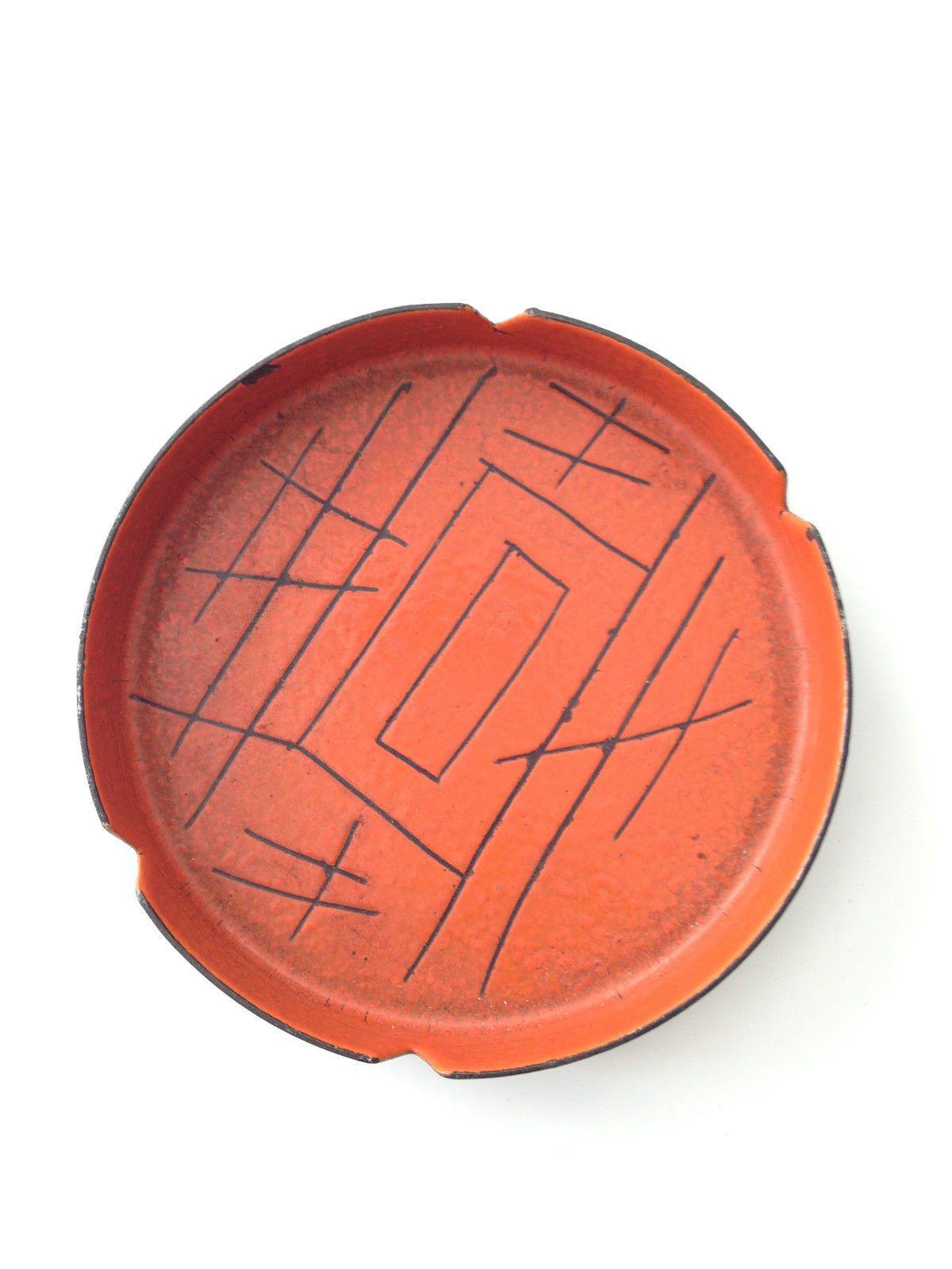 Vintage Vallenit italy enamel DISH ashtray mid century Eames danish modern Era