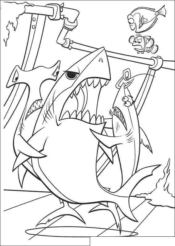 kleurplaat finding nemo de de haaien houden bruce