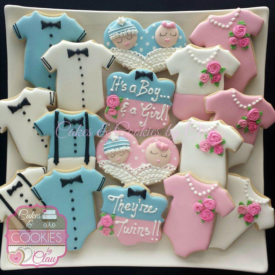 Boy Girl Twins Baby Shower Cookies Baby shower cookies