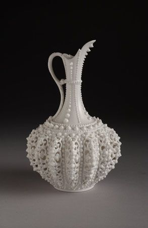 A Lotus Ware Ewer by Knowles Taylor and Knowles of East Liverpool, Ohio.