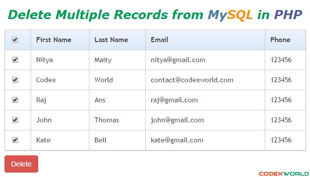 Delete Multiple Records from MySQL Database in PHP | PHP | Pinterest ...