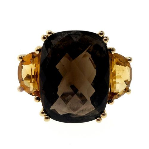 Vintage 13 00ct Cushion Smoky Quartz Citrine 14k Yellow