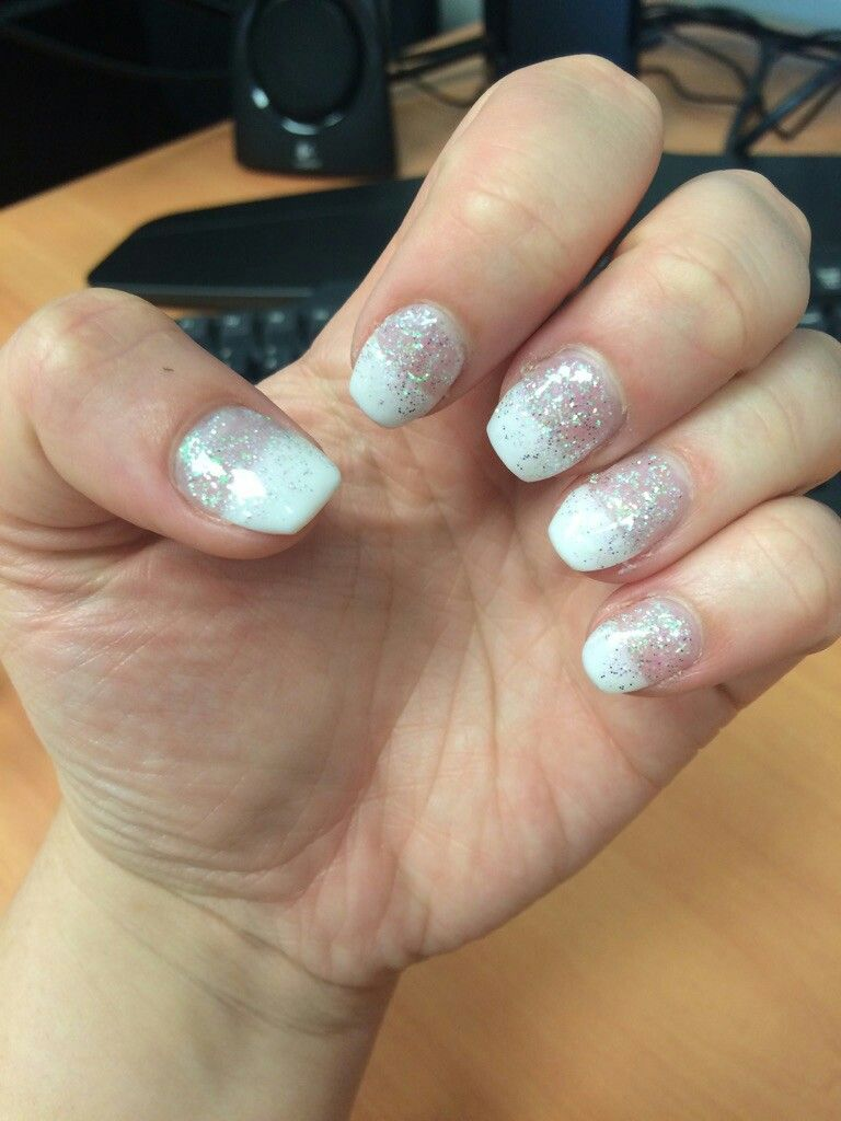 White Straight French Tip With Iridescent White Silver Sparkles Gradient From Bottom Coffin Shaped Gel Nails Nails White Silver