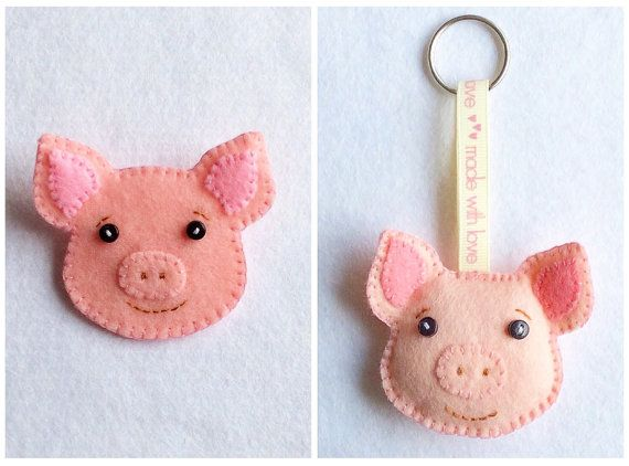 Felt Pig Brooch Pin, Keyring, Ornament PDF Sewing Pattern- Instant Download - Easy to Sew