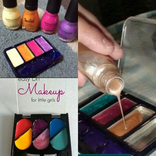DIY play makeup for little girls. So cute.  Empty makeup compacts and nail polish. Pour and let dry.