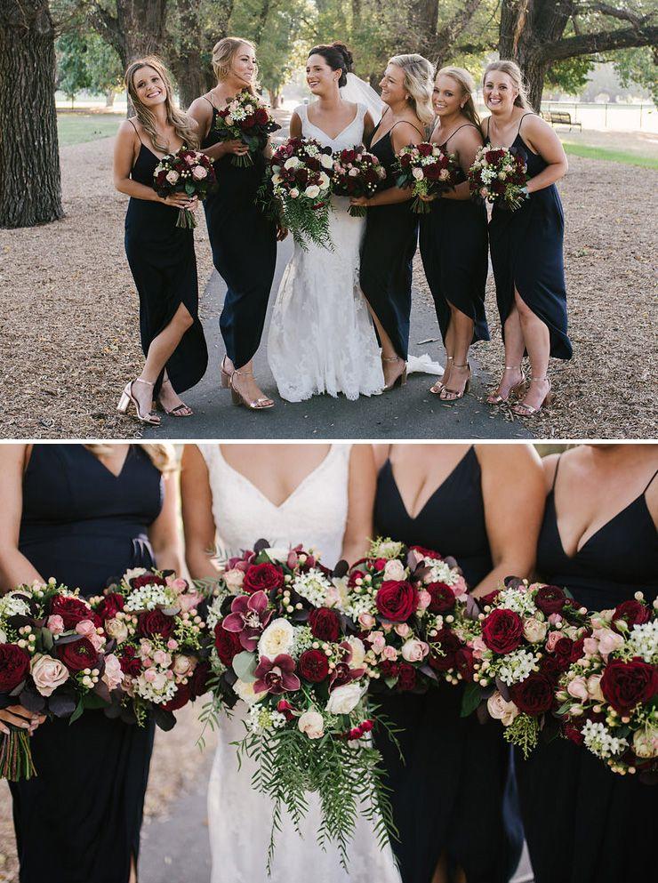 Jaimi Alex S Modern Black Tie Wedding With Burgundy Bouquets