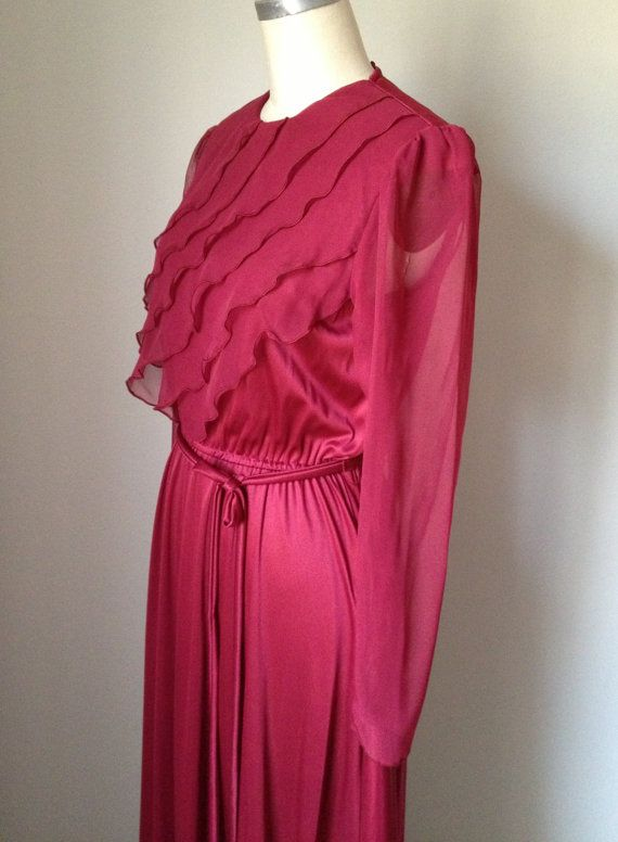 Oxblood Deep Red Vintage Prom Dress long by ExoTicPEARiNDusTRiEs, $65.00
