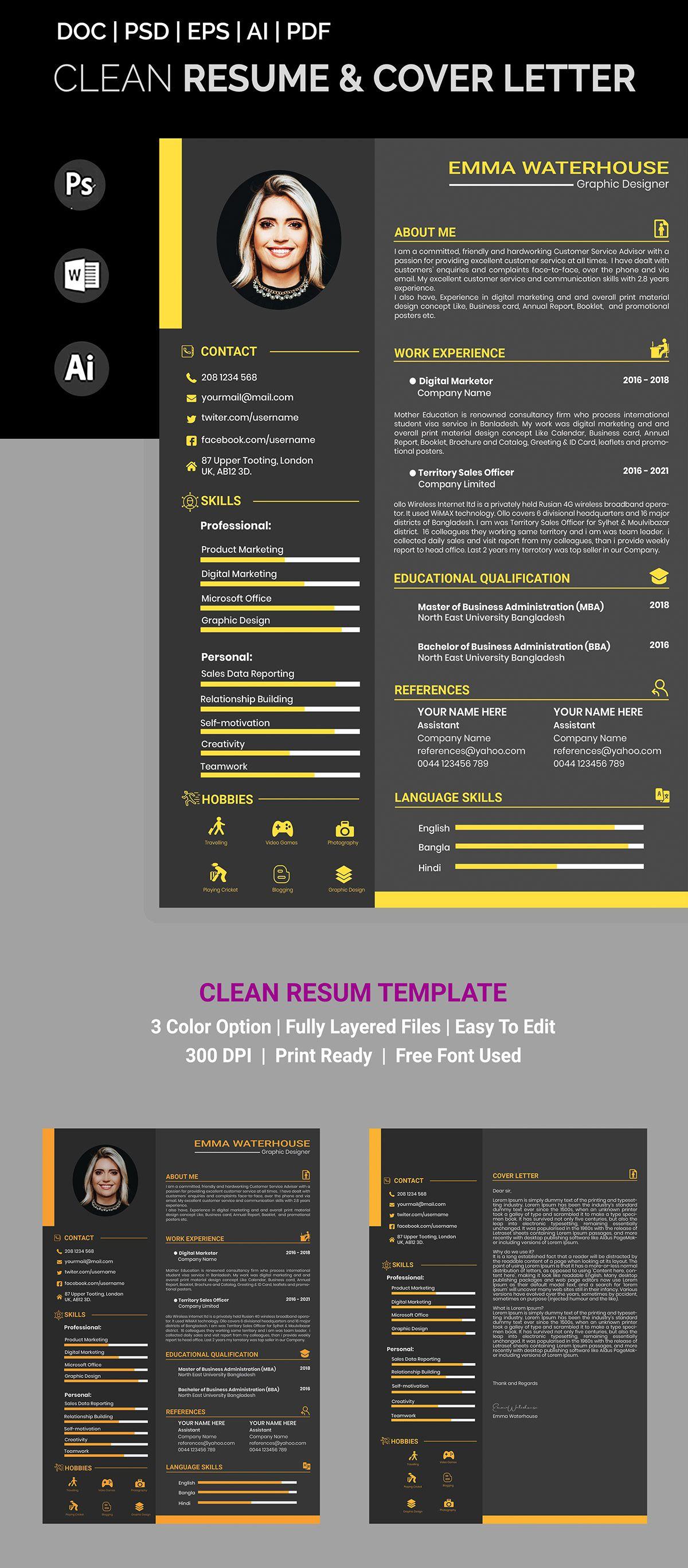 Professional Resume Cv Template On Behance Cv Template Cv Resume Template Cover Letter For Resume