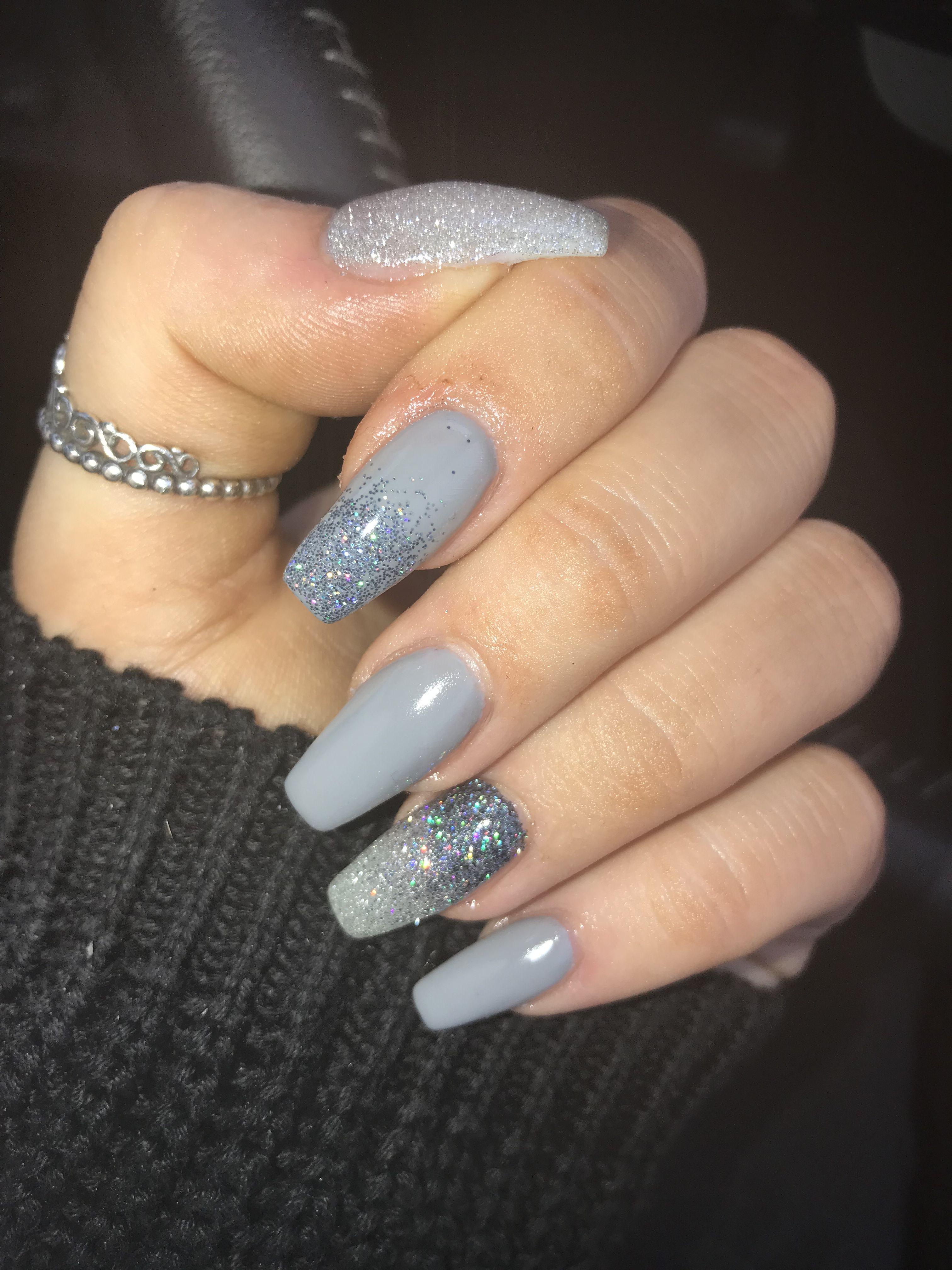 Grey Acrylic Glitter Nails Glitter Nails Acrylic Pink Acrylic Nails Gel Nails