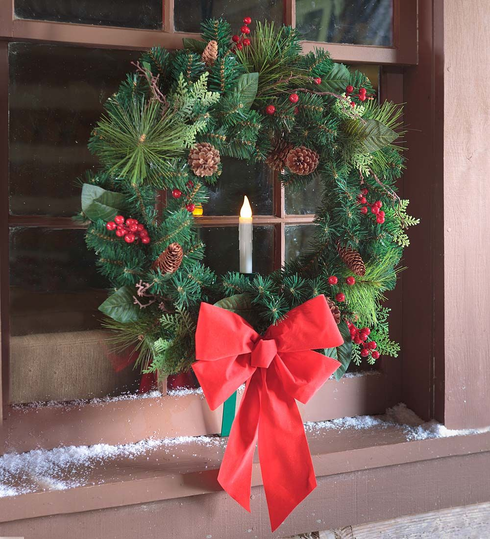 Holiday Window Wreath With Candle Outdoor Decorations