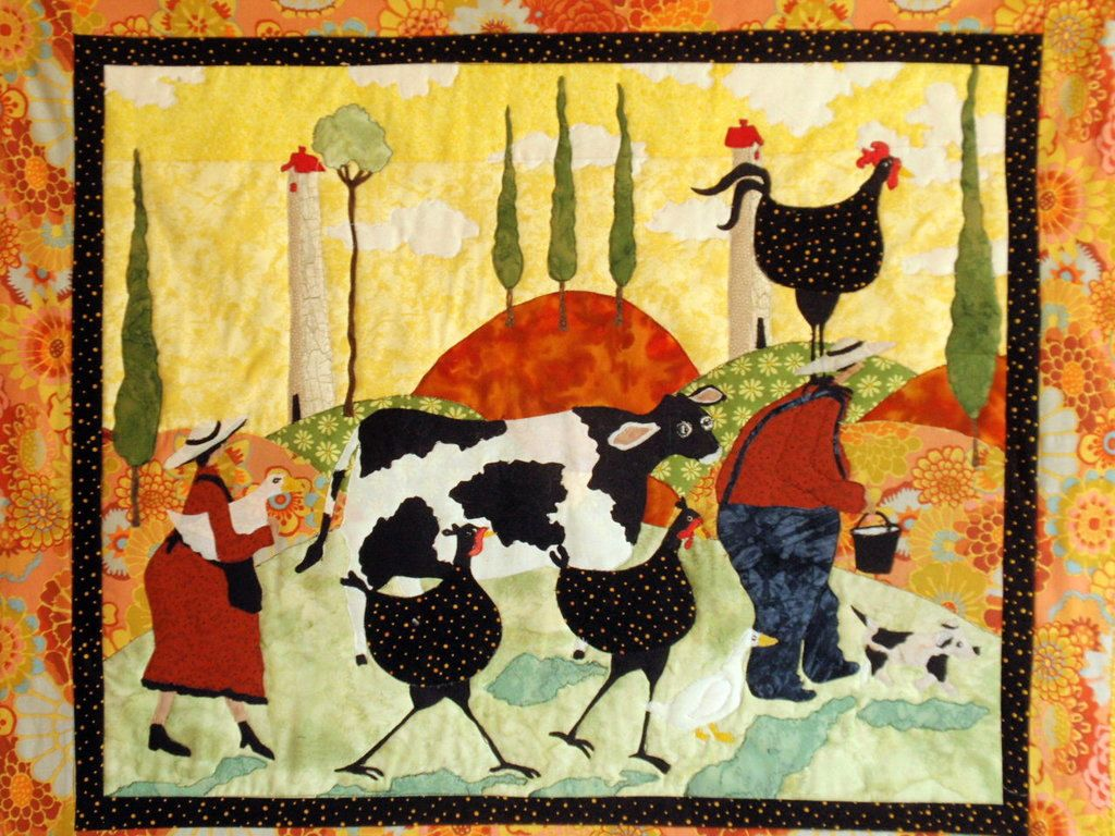 Tuscan countryside quilted wall hanging crafts quilted wall