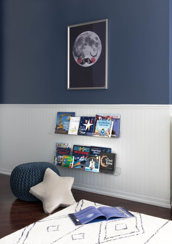 Celestial inspired boys room navy walls bedroom kids for Blue and white boys room