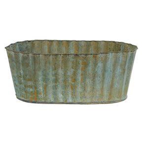 "Tin Oval Bucket Planter 15""x7.3""x5.9""  $12.99"