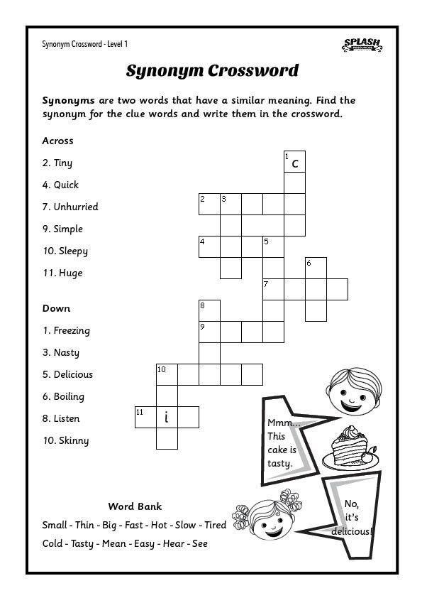 Free Synonyms Crosswords Worksheet 5 levels Splash – Aphasia Worksheets
