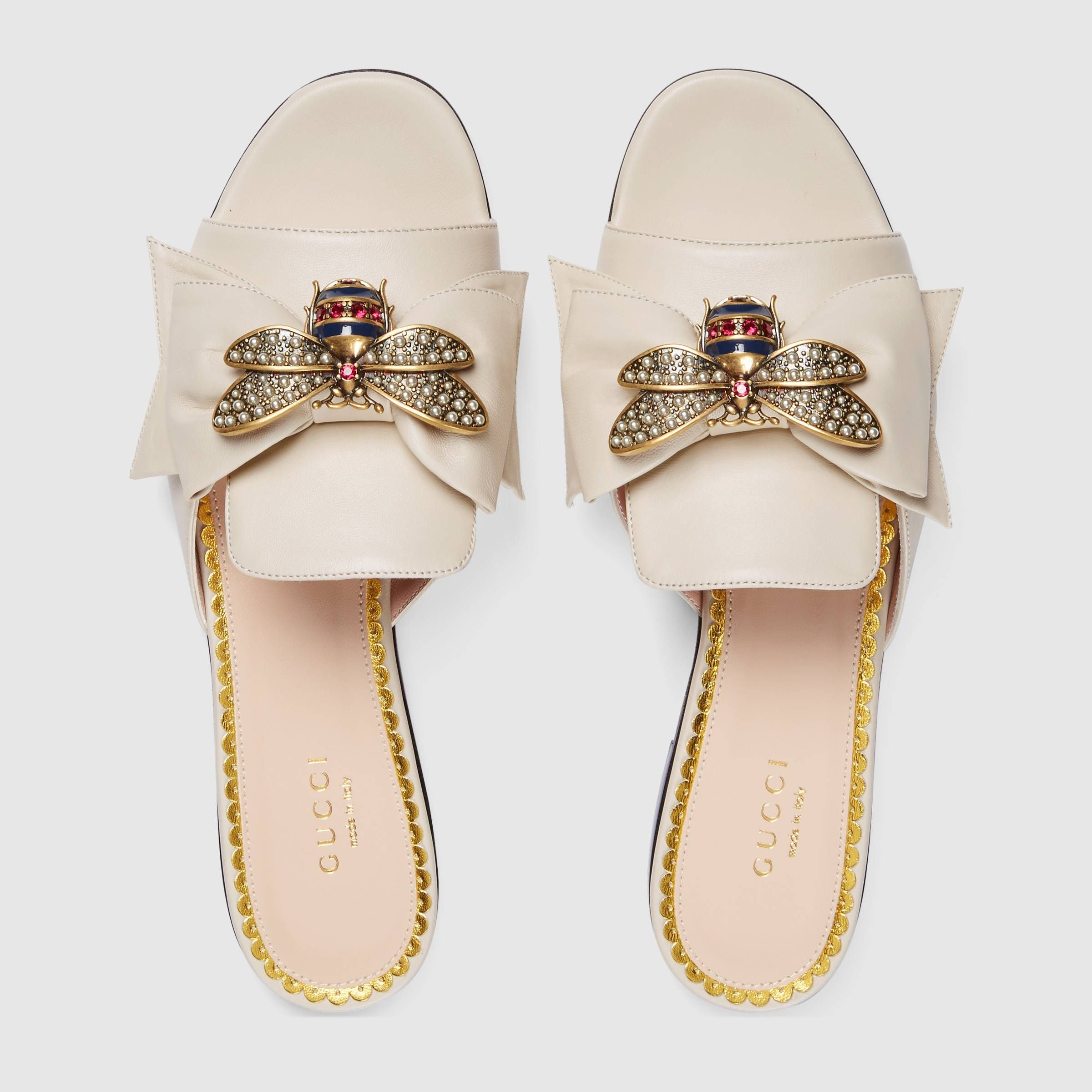 Leather slide with bow - Gucci Women's