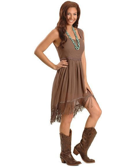 Unique Cute Dress And Cowboy Boot Combination Only Thing I Would Change Would Be To Addd Some Lace At The Cleavage Area