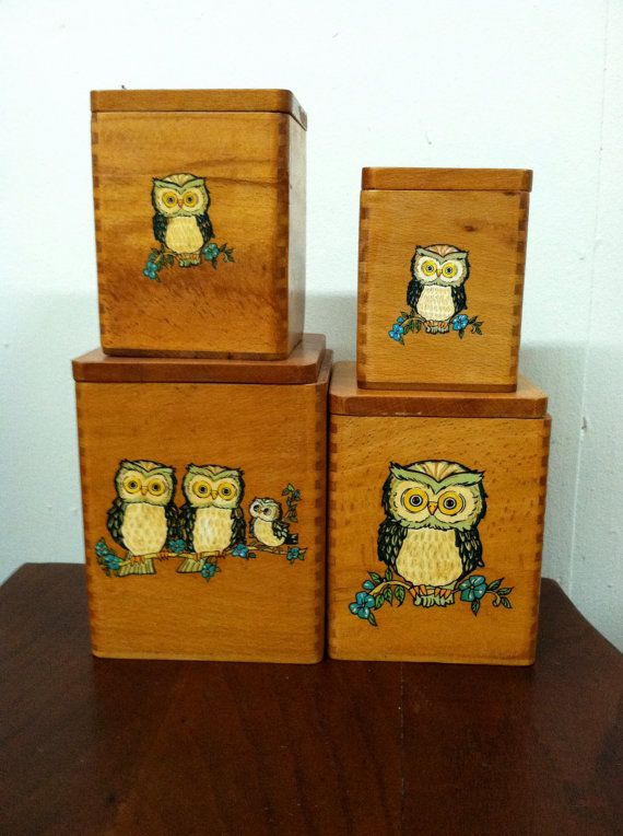 Painted Owl Wooden Canister Boxes
