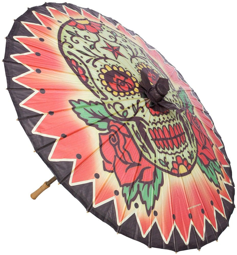 RETRO A GO GO SUPER SIZED SUGAR SKULL PARASOL This bold and colorful, super sized sugar skull parasol is sure to turn heads as you walk down the lane. A perfect way to get some shade, this paper parasol features a bamboo handle and coordinating finial. Handcrafted and brought to you by the fine folks at Retro A Go Go! $20.00 #retroagogo #parasol #retro #sugarskull