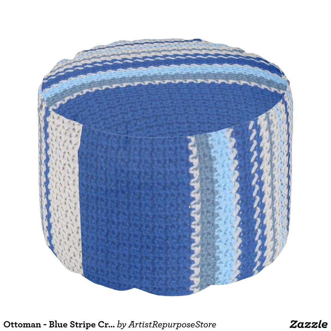 Ottoman - Blue Stripe Crochet pattern - Crochet patterned pouf!