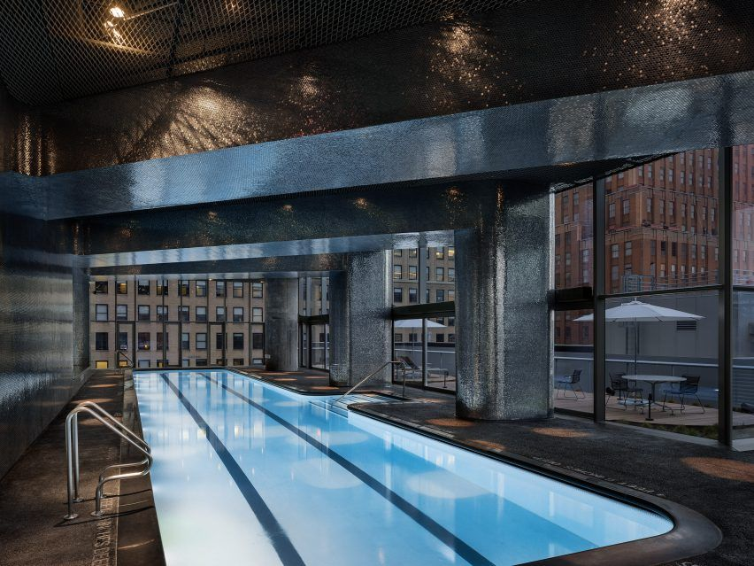 Marvelous A 23 Metre Swimming Pool Is Located In A Room Covered In Tiny Metallic Tiles
