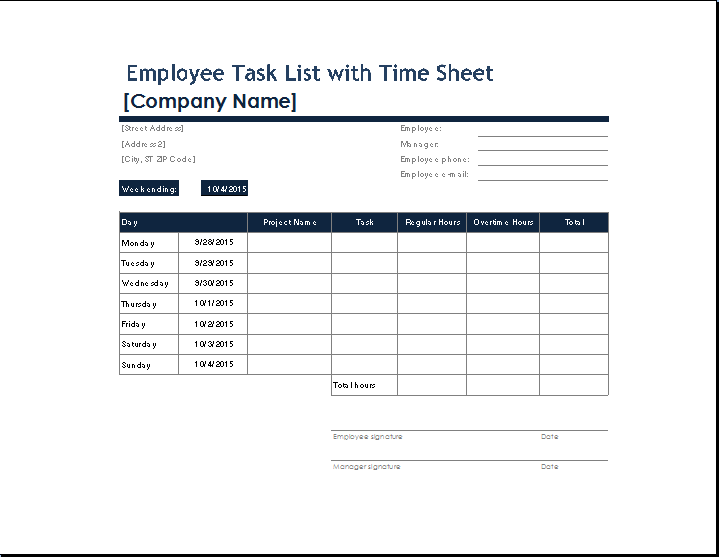 You can get your own employee task list template from here and will