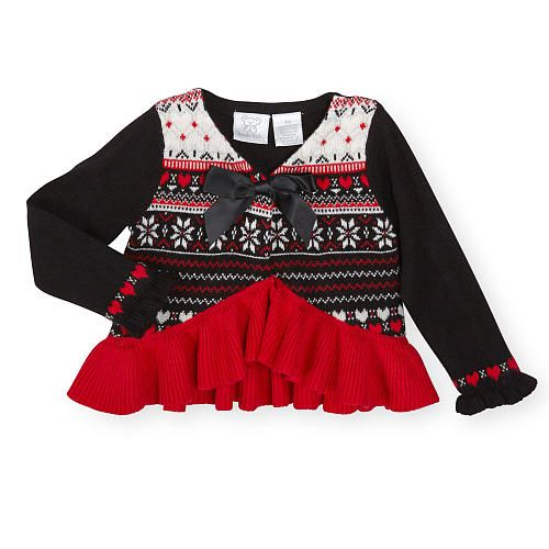 Koala Kids Girls Black/Red/White Fair Isle Knit Long Sleeve ...