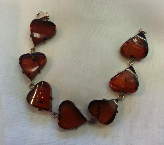 Amber Heart Bracelet Sterling Silver by TracyBDesignsAZ on Etsy, $139.00