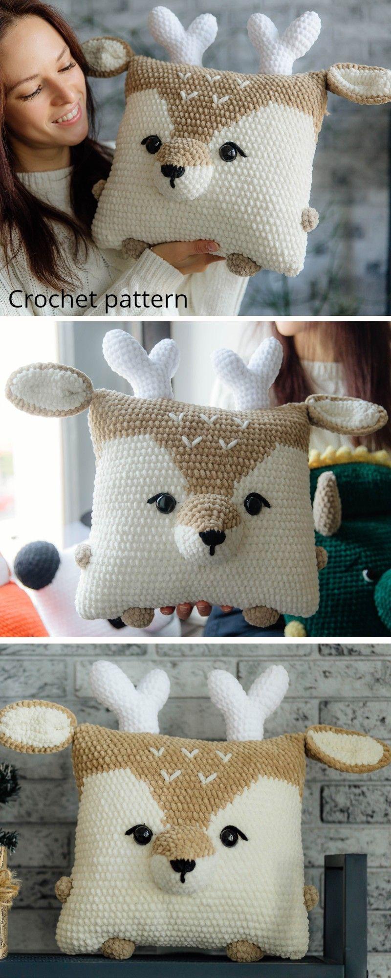 Crochet pattern pillow deer, crochet deer pattern, amigurumi raindeer, deer pattern, amigurumi toy