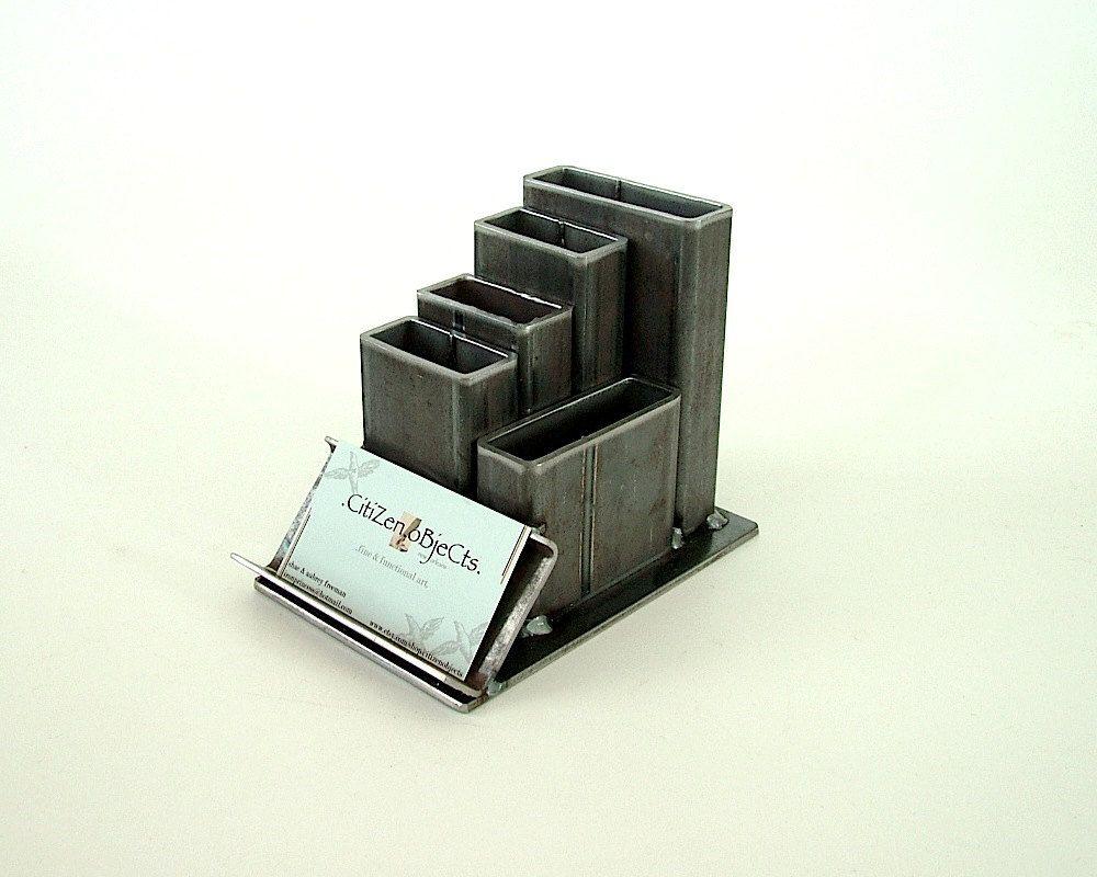 Industrial Steel Desk Organizer with Card Holder