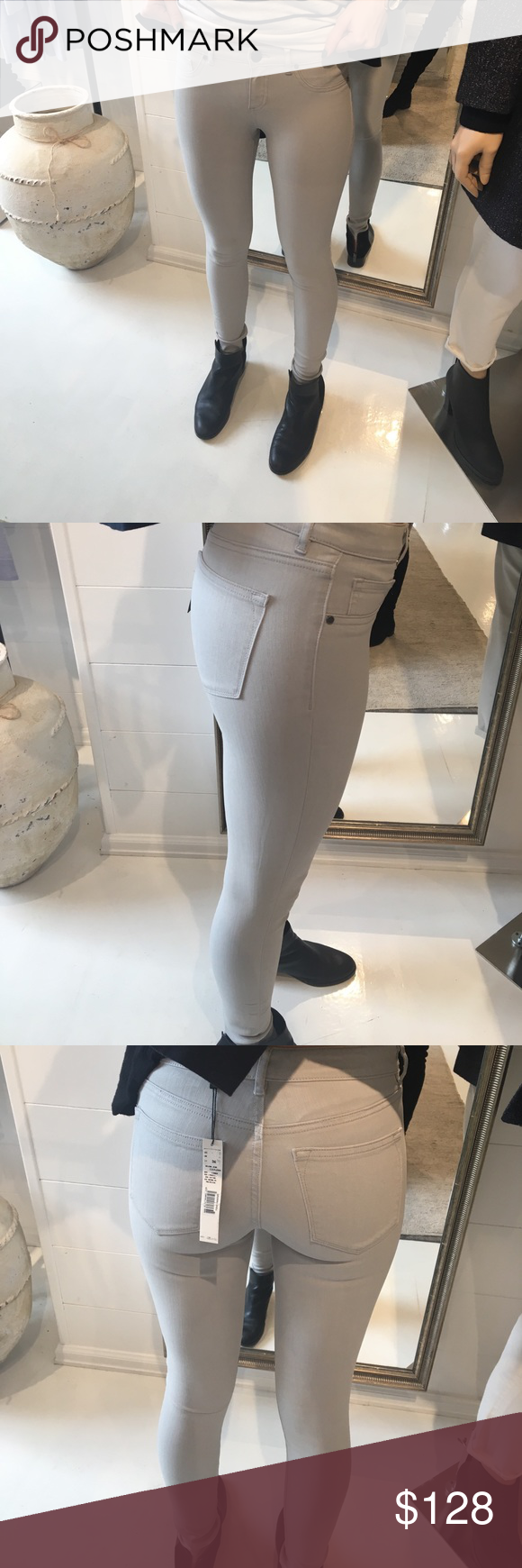 ELIE TAHARI Selena Jeans *Further marked down* Elie Tahari Selena Jean. Size 0/US 4/UK 36/ITA Full waxed jeans- Color Cider (Light Grey) NEVER WORN, Tags on!! Elie Tahari Jeans Skinny