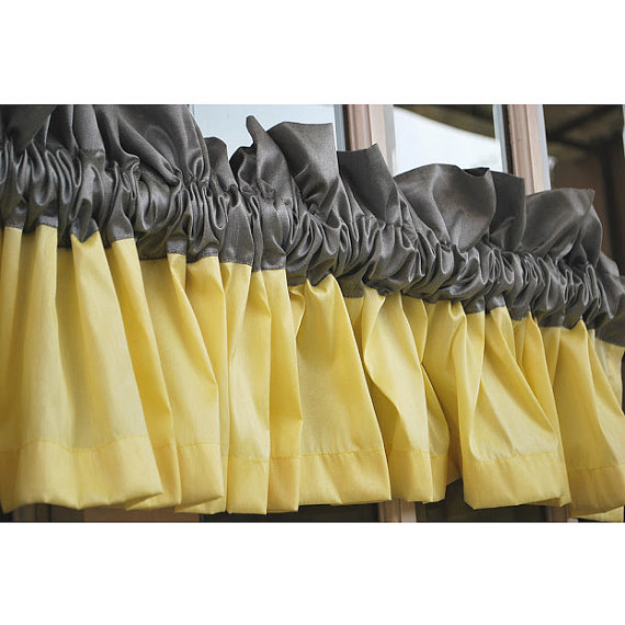 Yellow And Grey Valance Rod Pocket Unlined Curtain Living And Bedroom Decor  And Housewares Curtain Panels Window Treatments