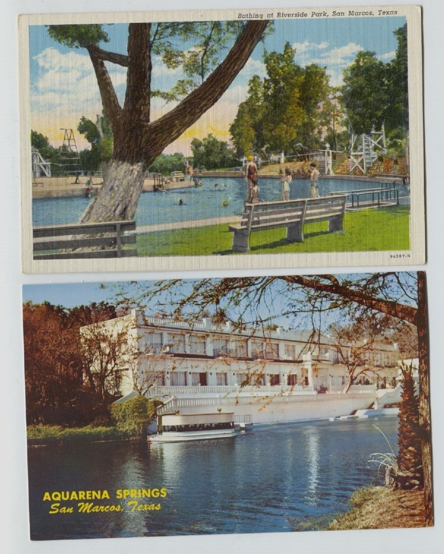 Aquarena Springs Hotel Riverside Park Swimming Postcards San Marcos Texas