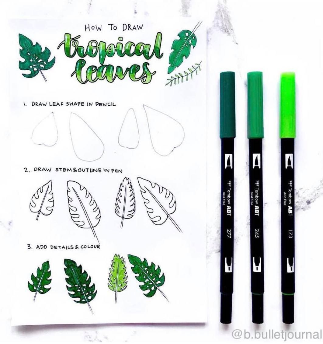 Tropical Leaves Drawing Tutorial By Ig B Bulletjournal How To Draw Palm Tree Leaves Leaf Drawing Flower Drawing Tutorials Flower Drawing Tropical leaves and flowers doodles drawing ideas🌿 / bullet journal dood. tropical leaves drawing tutorial by ig