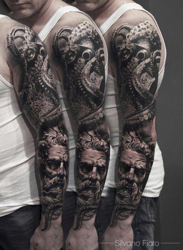 Poseidon Sleeve Octopus Tattoo Sleeve Tattoos Full
