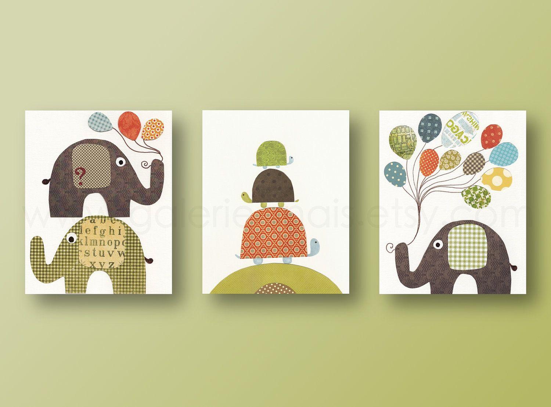 Nursery art prints, baby boy nursery, nursery wall art, personalized ...