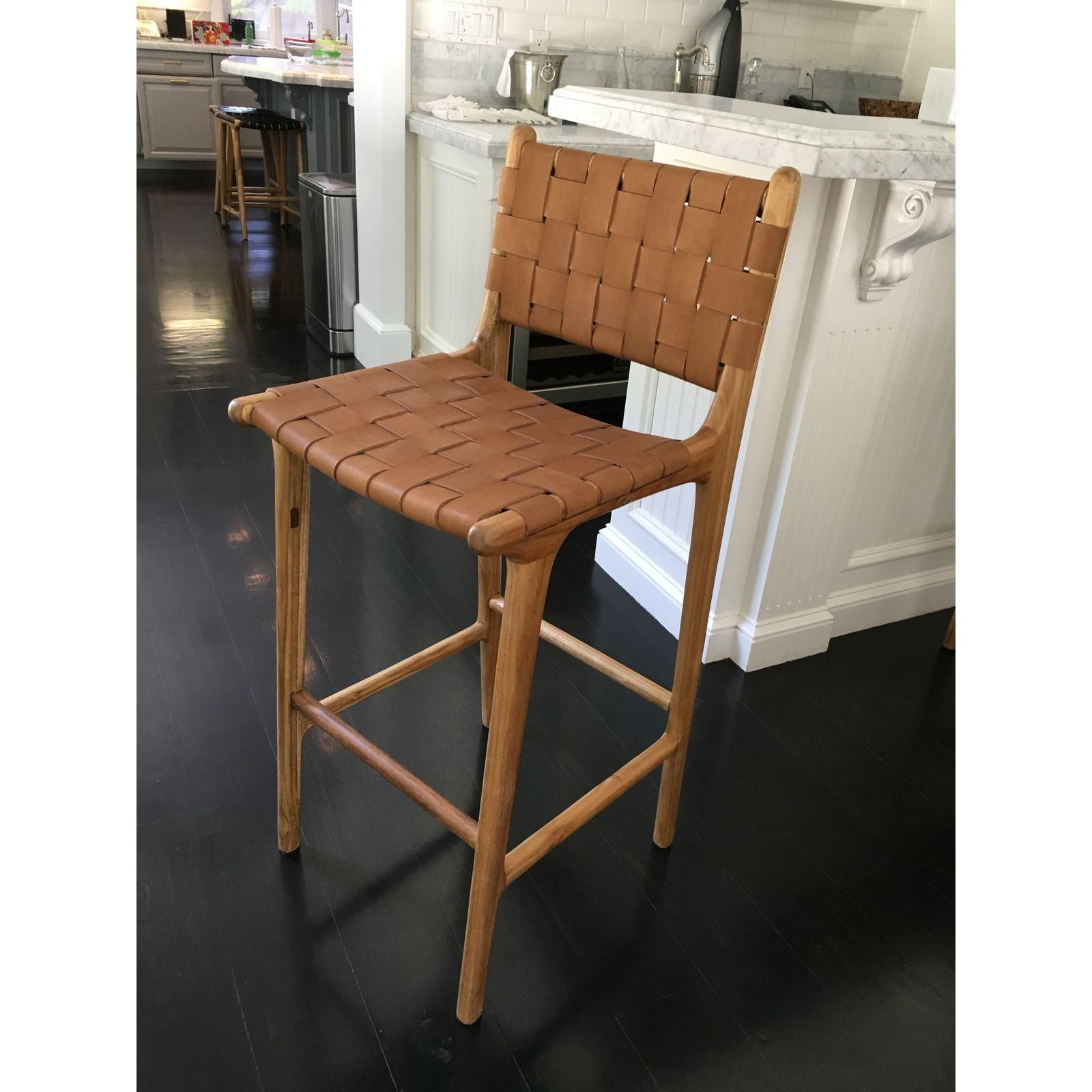 Saffron Poe Woven Leather Strap Counter Stool Counter Stools