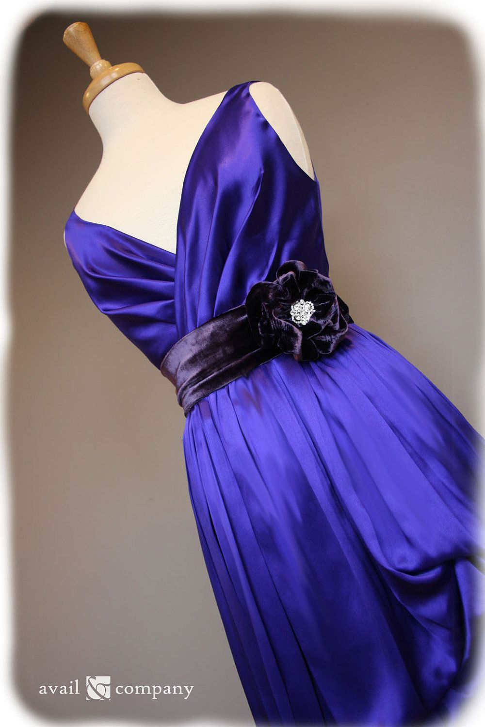 Purple bridesmaid dress with low back in silk charmeuse by availco